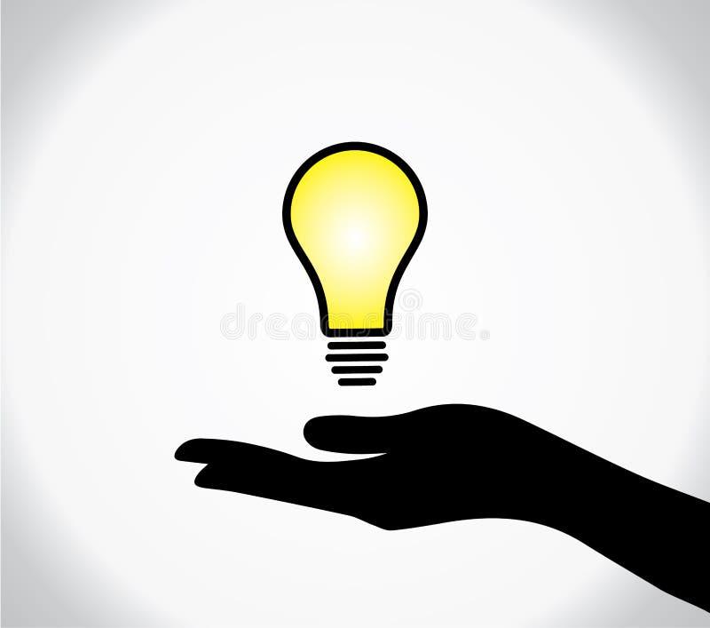 προστασία σκιαγραφιών χεριών που καίγεται lightbulb ελεύθερη απεικόνιση δικαιώματος