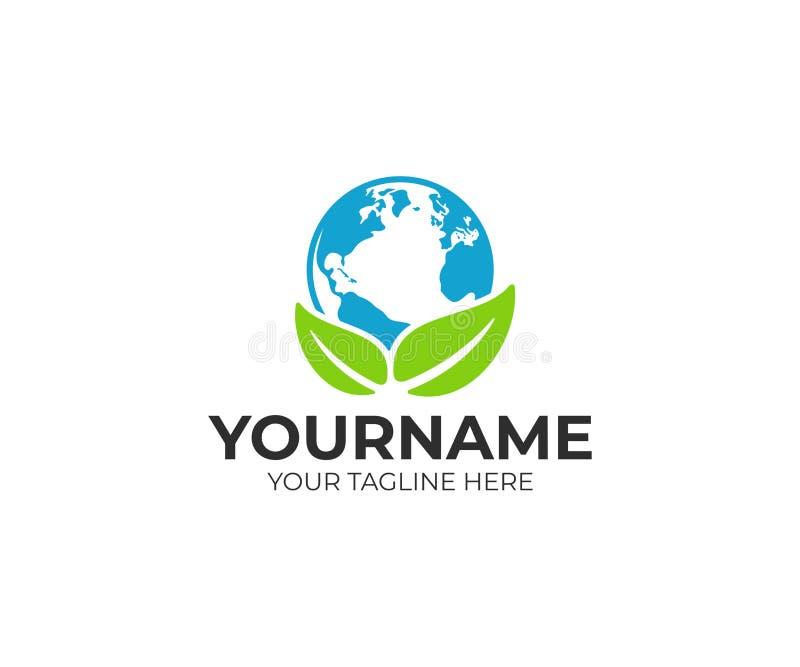 Προστασία του περιβάλλοντος, πλανήτης Γη και φύλλα, σχέδιο λογότυπων Οικολογικού και ανακύκλωσης, διανυσματικού σχέδιο φύσης, απεικόνιση αποθεμάτων