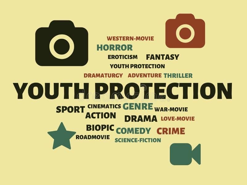 ΠΡΟΣΤΑΣΙΑ YOUTH - εικόνα με τις λέξεις που συνδέονται με τον ΚΙΝΗΜΑΤΟΓΡΑΦΟ θέματος, λέξη, εικόνα, απεικόνιση ελεύθερη απεικόνιση δικαιώματος