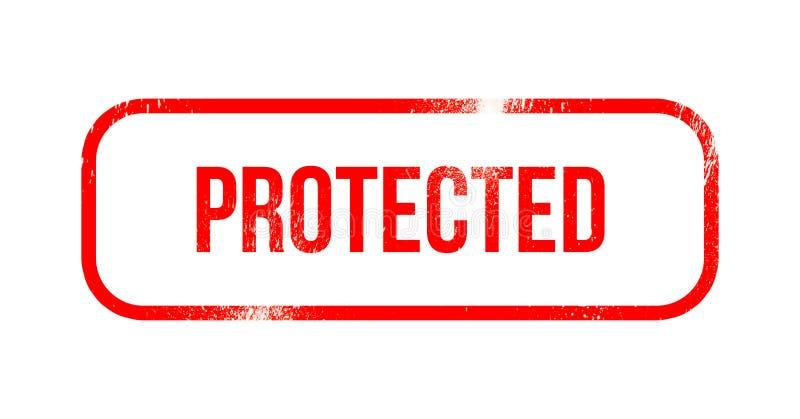 Προστατευμένος - κόκκινο λάστιχο grunge, γραμματόσημο διανυσματική απεικόνιση