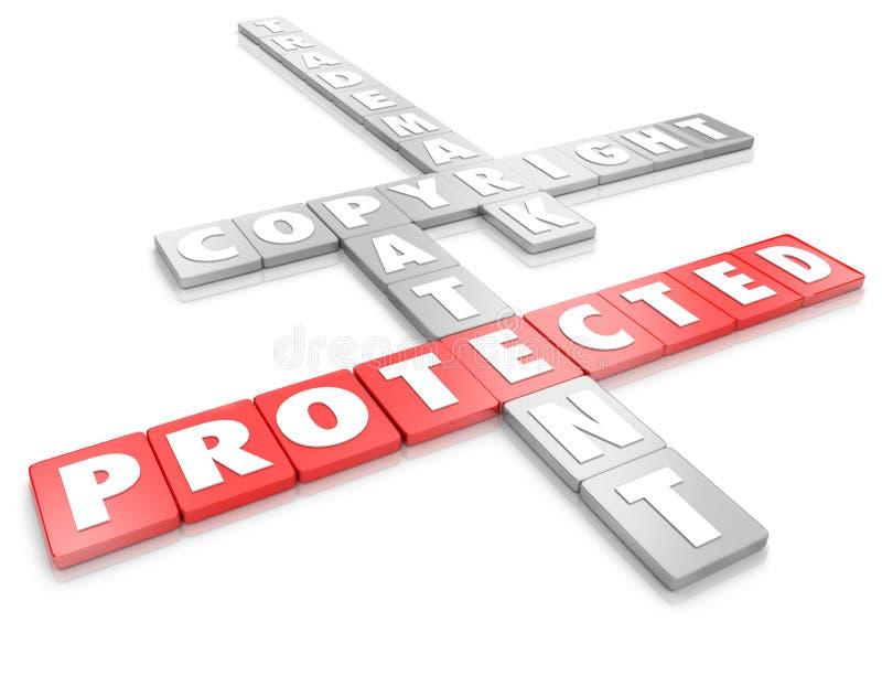 Προστατευμένο δίπλωμα ευρεσιτεχνίας εμπορικών σημάτων πνευματικών δικαιωμάτων πνευματικής ιδιοκτησίας νομικό διανυσματική απεικόνιση