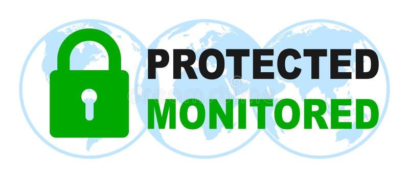 Προστατευμένο και ελεγχόμενο σημάδι στις μπλε σφαίρες - διάνυσμα ελεύθερη απεικόνιση δικαιώματος