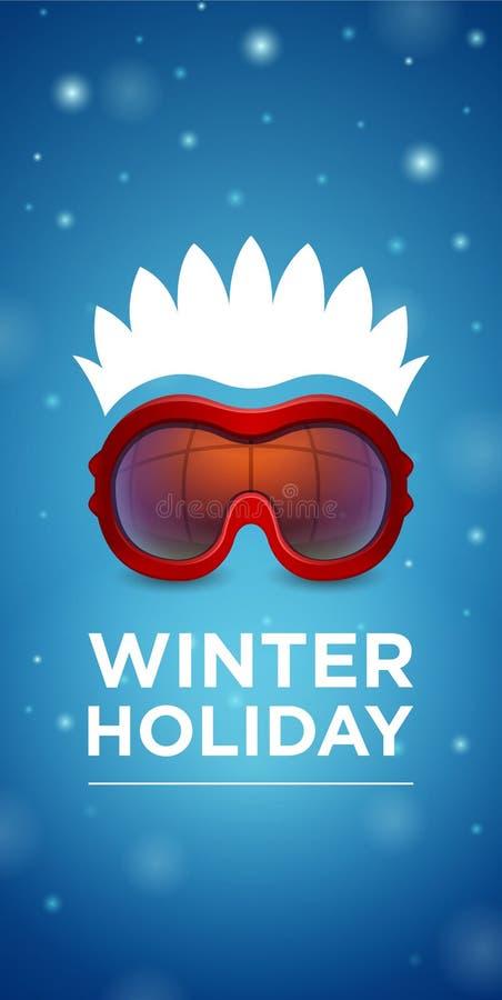 Προστατευτικά δίοπτρα σκι και hairstyle χειμερινές διακοπές ελεύθερη απεικόνιση δικαιώματος