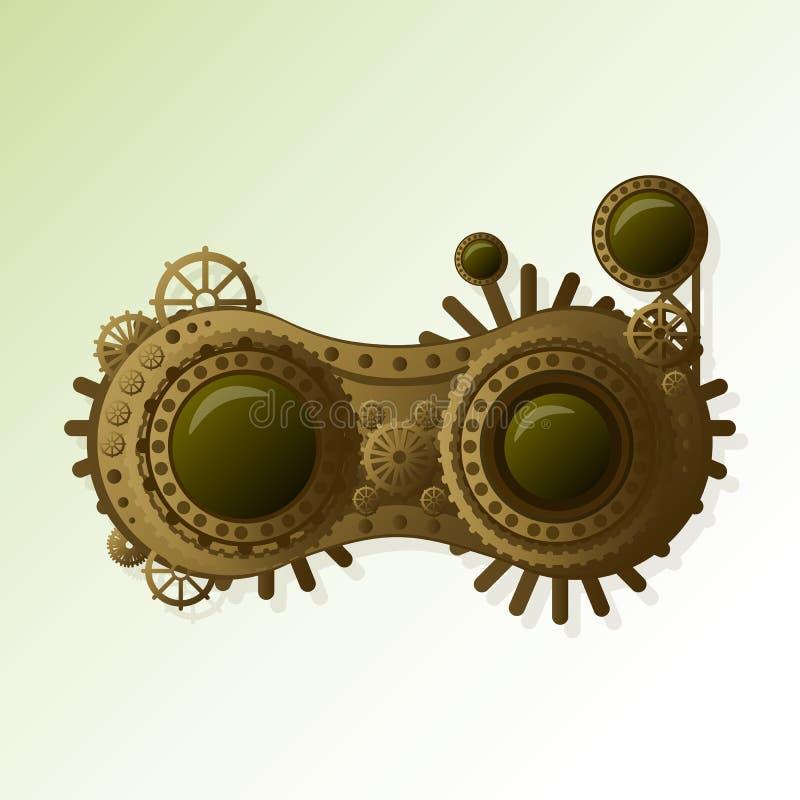 Προστατευτικά δίοπτρα Steampunk που απομονώνονται στην άσπρη photo-realistic διανυσματική απεικόνιση διανυσματική απεικόνιση