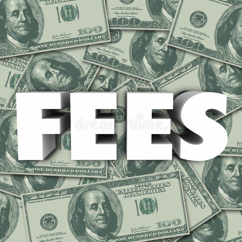 Προστιθέμενη τιμή κόστους υποβάθρου χρημάτων του Word αμοιβών ποινική ρήτρα διανυσματική απεικόνιση
