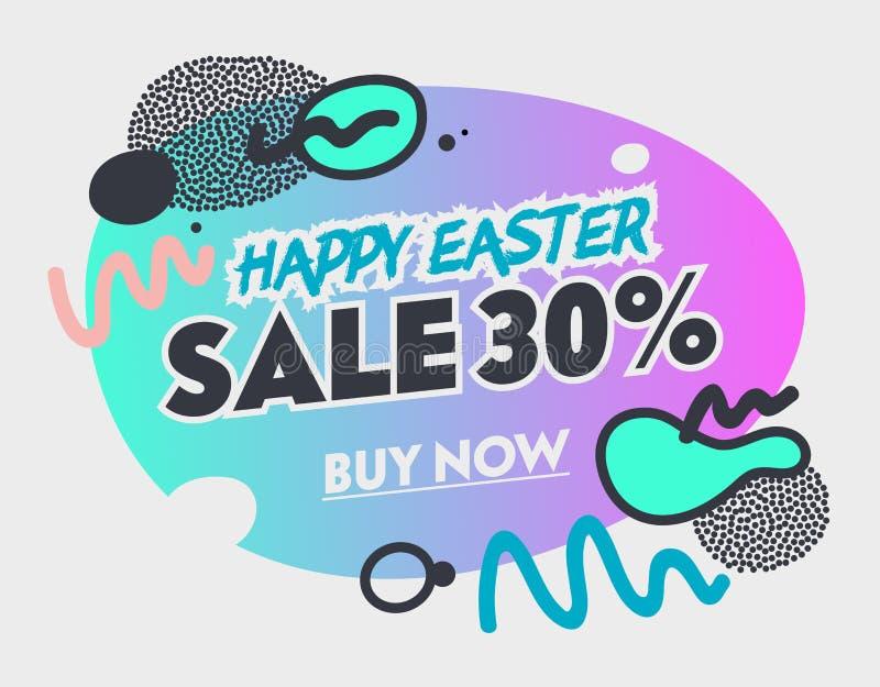 Προσφορά πώλησης άνοιξη για τους αγοραστές στις ευτυχείς διακοπές Πάσχας Αφηρημένο ζωηρόχρωμο έμβλημα με τα στοιχεία ύφους Doodle απεικόνιση αποθεμάτων