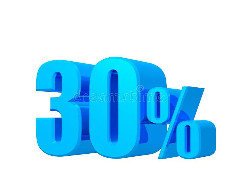 προσφορά 30%, τιμή προσφοράς, έκπτωση, προώθηση τριάντα πωλήσεων τοις εκατό, τρισδιάστατη απόδοση στο άσπρο υπόβαθρο ελεύθερη απεικόνιση δικαιώματος