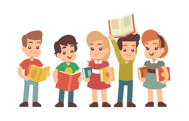 Προσχολικά παιδιά κινούμενων σχεδίων με τα βιβλία Μαθαίνοντας και stadying διανυσματική έννοια απεικόνιση αποθεμάτων