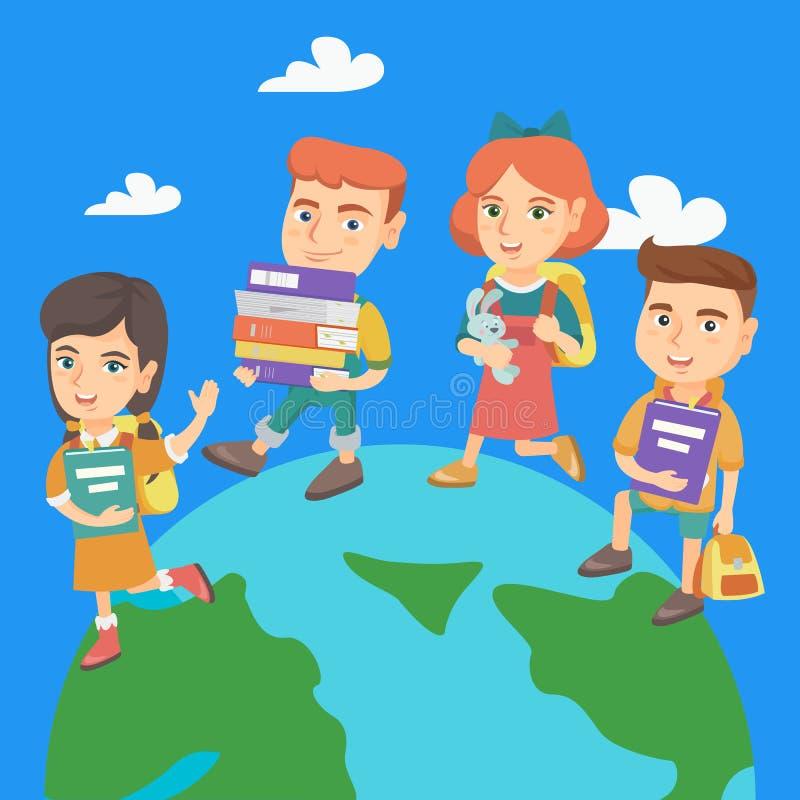 Προσχολικά παιδιά που περπατούν γύρω από το γήινο πλανήτη διανυσματική απεικόνιση