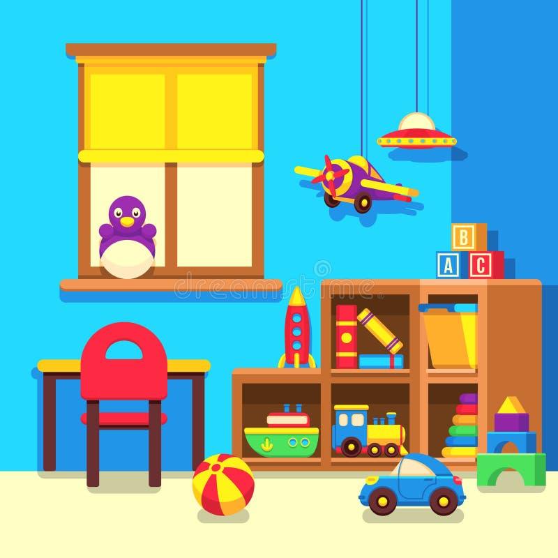 Προσχολική τάξη παιδικών σταθμών με τη διανυσματική απεικόνιση κινούμενων σχεδίων παιχνιδιών ελεύθερη απεικόνιση δικαιώματος