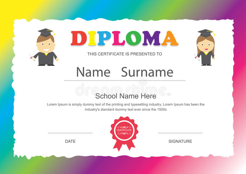 Προσχολικό σχέδιο πιστοποιητικών διπλωμάτων δημοτικών σχολείων παιδιών ελεύθερη απεικόνιση δικαιώματος