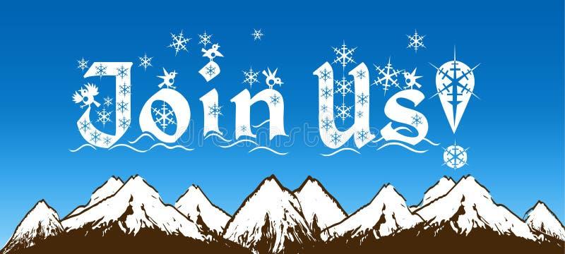 ΠΡΟΣΧΩΡΗΣΤΕ στις ΗΠΑ που γράφονται με snowflakes στο μπλε ουρανό και το χιονώδες υπόβαθρο βουνών απεικόνιση αποθεμάτων