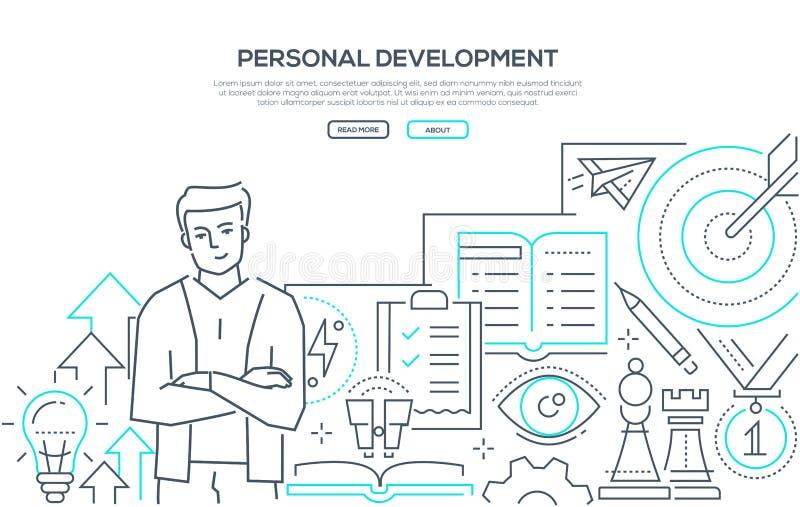 Προσωπική ανάπτυξη - σύγχρονο έμβλημα Ιστού ύφους σχεδίου γραμμών απεικόνιση αποθεμάτων