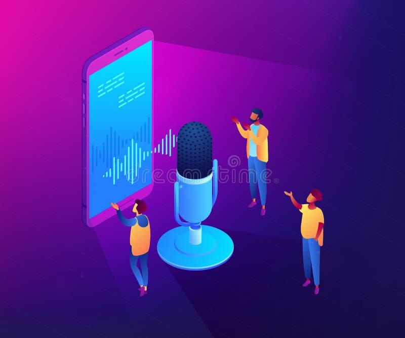 Προσωπική απεικόνιση έννοιας φωνής βοηθητική isometric τρισδιάστατη απεικόνιση αποθεμάτων