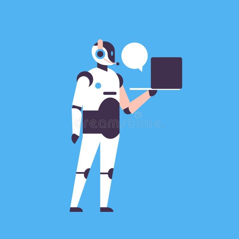 Προσωπική βοηθητική έννοια φυσαλίδων συνομιλίας lap-top αρωγών BOT chatbot επικοινωνίας ρομπότ χαρακτήρα τεχνητής νοημοσύνης ελεύθερη απεικόνιση δικαιώματος