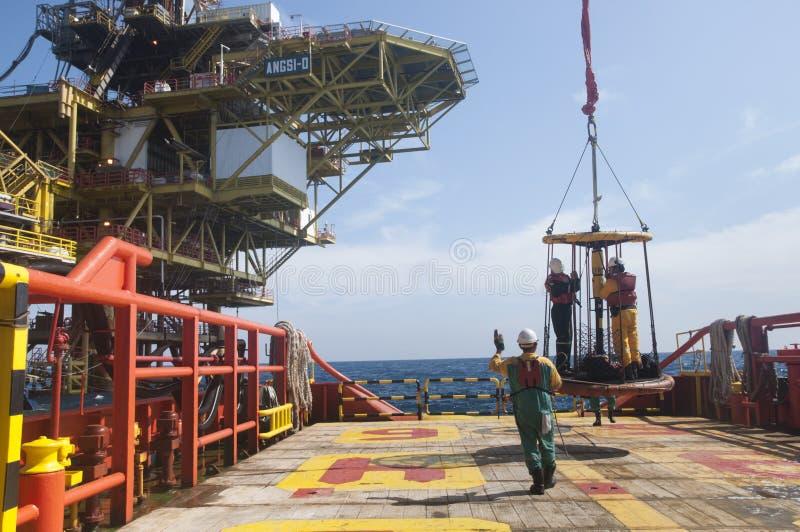 Προσωπική μεταφορά καλαθιών στη πλατφόρμα πετρελαίου στοκ εικόνες με δικαίωμα ελεύθερης χρήσης