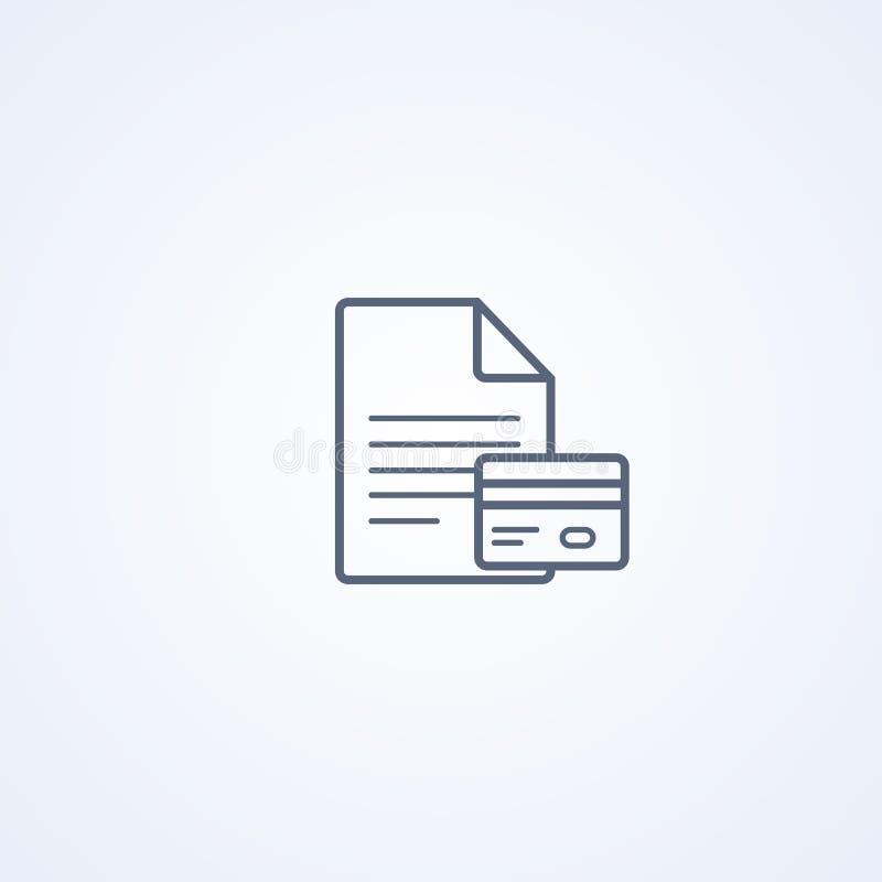 Προσωπική πιστωτική κάρτα, κάρτες ταυτότητας, διανυσματικό καλύτερο γκρίζο εικονίδιο γραμμών ελεύθερη απεικόνιση δικαιώματος