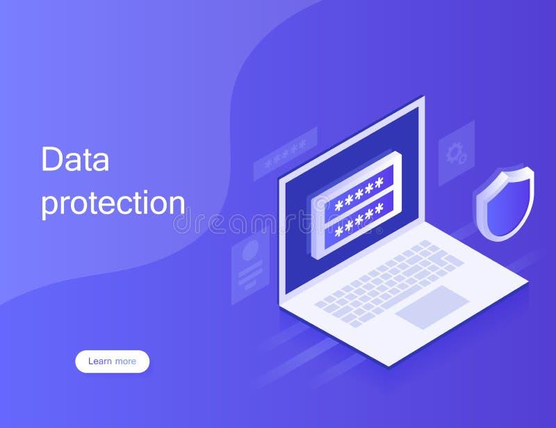 Προσωπική προστασία δεδομένων έννοιας, έμβλημα Ιστού Ασφάλεια και ιδιωτικότητα Cyber Κρυπτογράφηση κυκλοφορίας, VPN, αντιιός προσ διανυσματική απεικόνιση