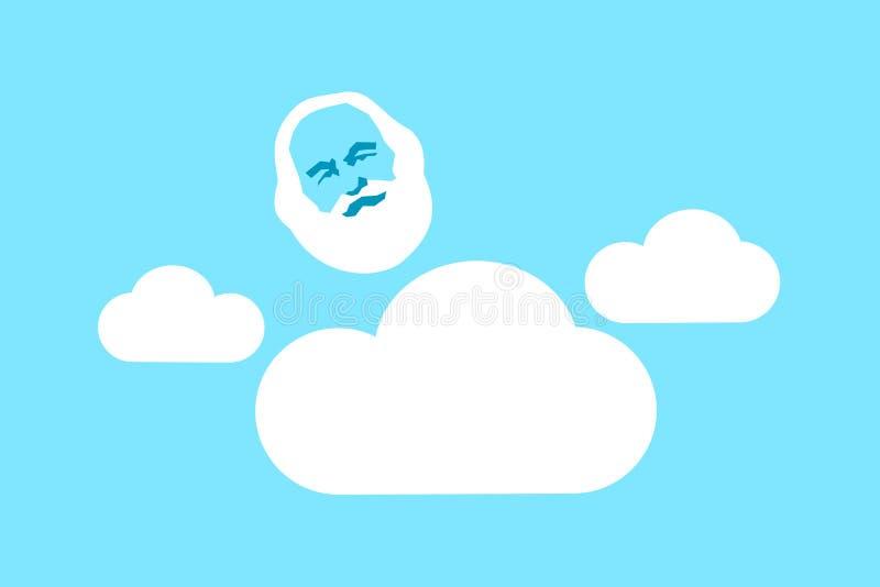 Προσωπική ύπαρξη του Θεού - ο υπερφυσικός υπέρτατος άσπρος-γενειοφόρος ηληκιωμένος είναι στο σύννεφο στον ουρανό ελεύθερη απεικόνιση δικαιώματος