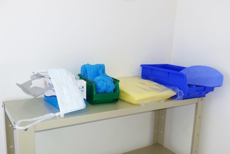 Προσωπικοί προστατευτικοί εξοπλισμοί στο νοσοκομείο στοκ φωτογραφίες με δικαίωμα ελεύθερης χρήσης