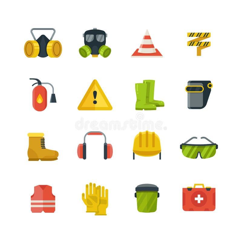 Προσωπικός προστατευτικός εξοπλισμός για τα επίπεδα διανυσματικά εικονίδια εργασίας ασφαλείας διανυσματική απεικόνιση