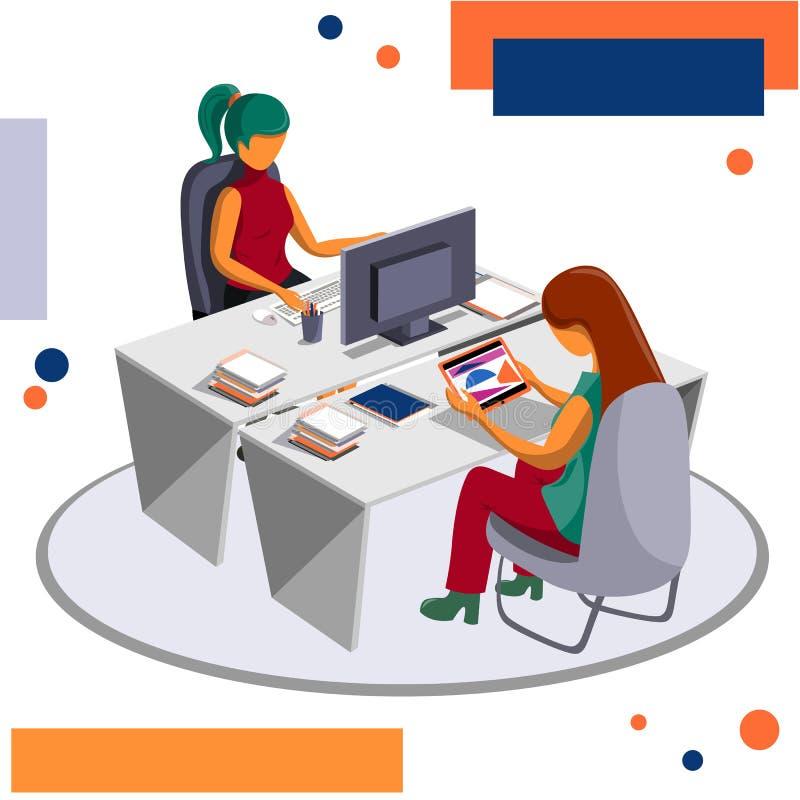 Προσωπικό εργασιακών χώρων, ροή της δουλειάς Η εργάσιμη ημέρα των υπαλλήλων στο γραφείο διανυσματική απεικόνιση