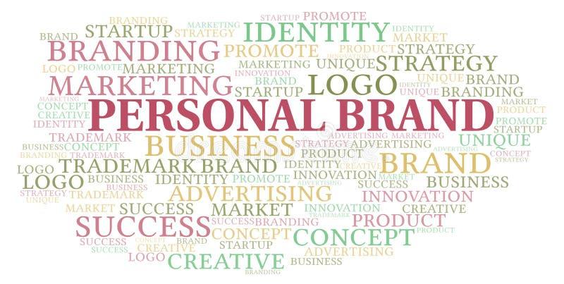 Προσωπικό σύννεφο λέξης εμπορικών σημάτων διανυσματική απεικόνιση