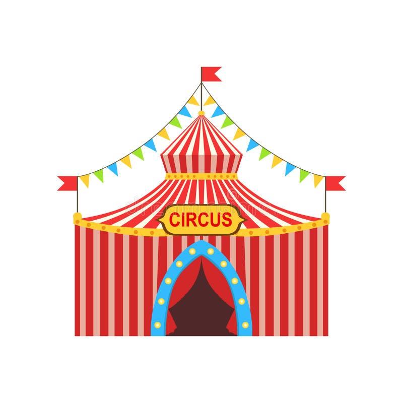 Προσωρινή σκηνή τσίρκων στο ρηγέ κόκκινο ύφασμα με τις σημαίες, τις γιρλάντες και το σημάδι εισόδων ελεύθερη απεικόνιση δικαιώματος