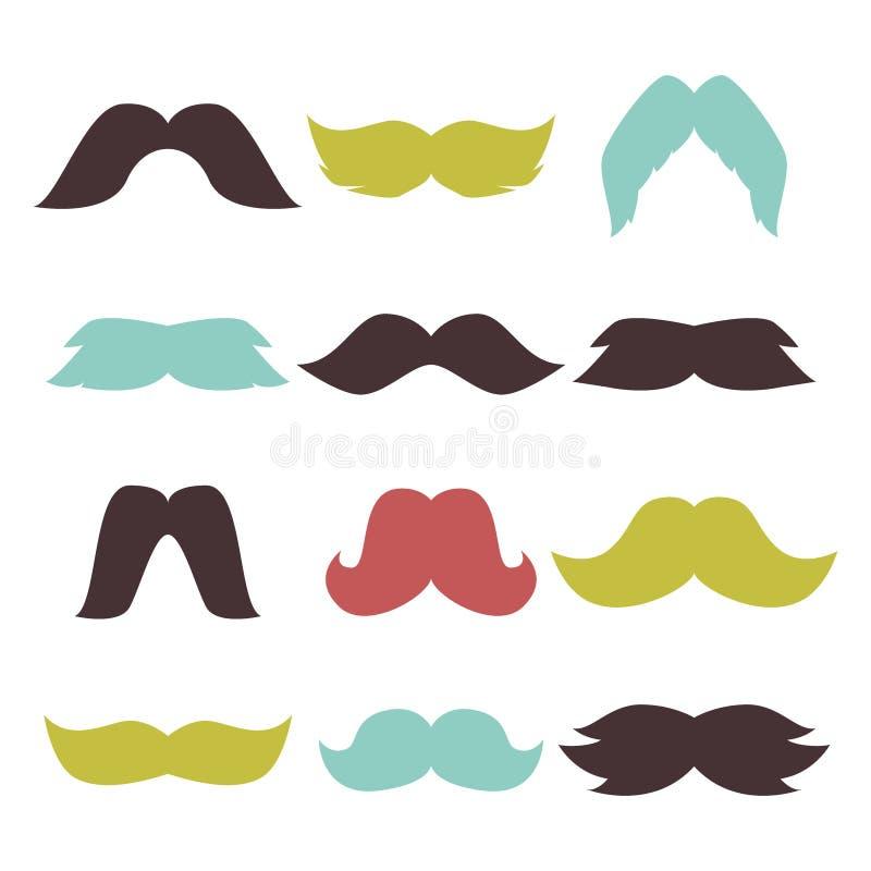 Προσώπου βοηθητικό διάνυσμα χαρακτήρα γενειάδων διασκέδασης κομμάτων καθορισμένο mustache hipster ελεύθερη απεικόνιση δικαιώματος