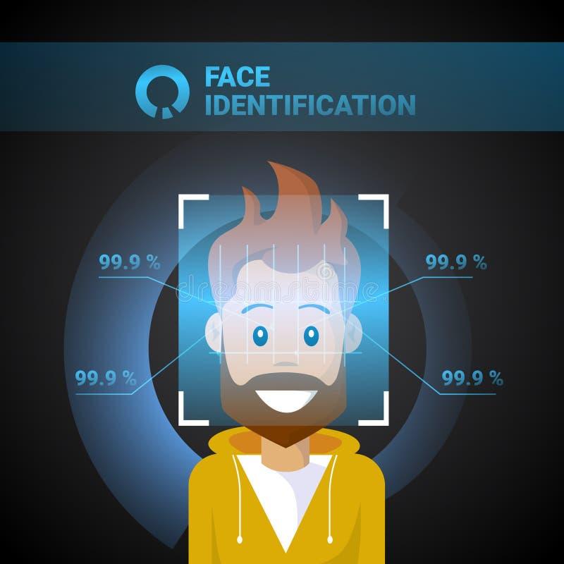 Προσώπου προσδιορισμού αρσενική έννοια συστημάτων αναγνώρισης Biometrical τεχνολογίας ελέγχου προσπέλασης ανίχνευσης σύγχρονη διανυσματική απεικόνιση