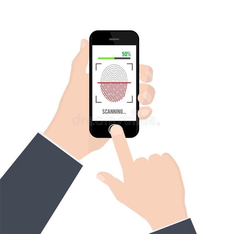 Προσδιορισμός ή επικύρωση δακτυλικών αποτυπωμάτων στο smartphone στο άσπρο υπόβαθρο επίσης corel σύρετε το διάνυσμα απεικόνισης ελεύθερη απεικόνιση δικαιώματος