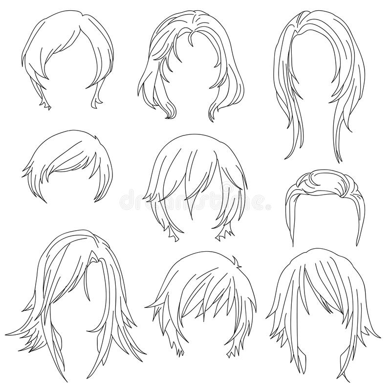 Προσδιορισμός τρίχας για το σύνολο 2 σχεδίων γυναικών απεικόνιση αποθεμάτων