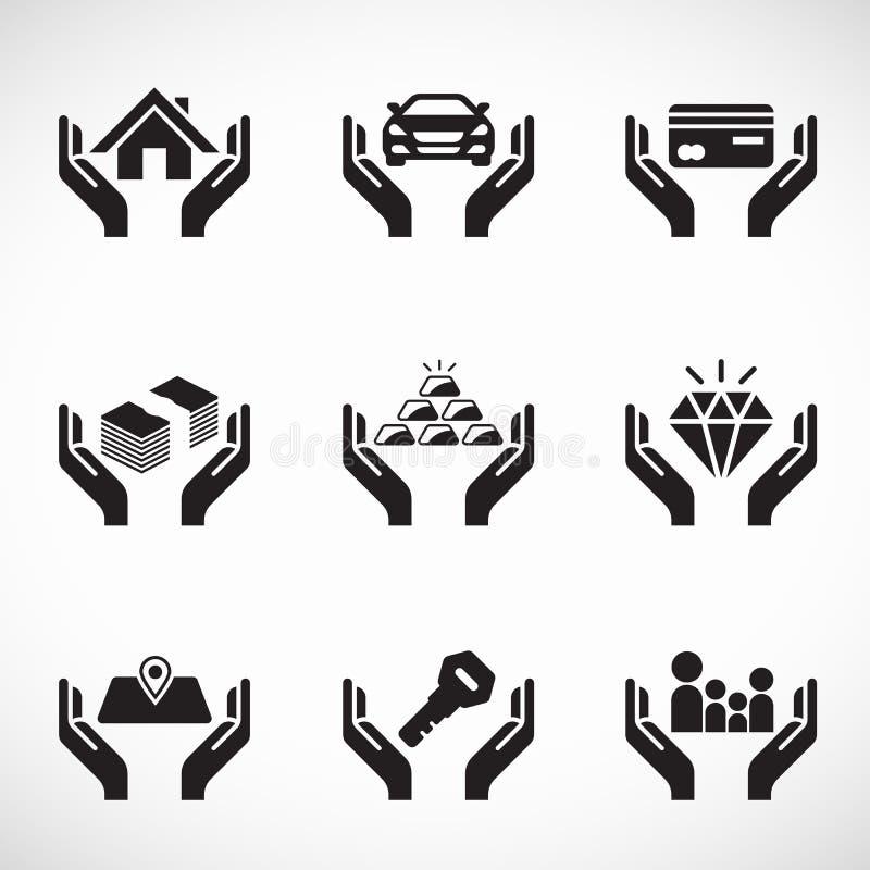 Προτέρημα λαβής χεριών και επιχειρησιακό διανυσματικό καθορισμένο σχέδιο ασφαλιστικών εικονιδίων απεικόνιση αποθεμάτων