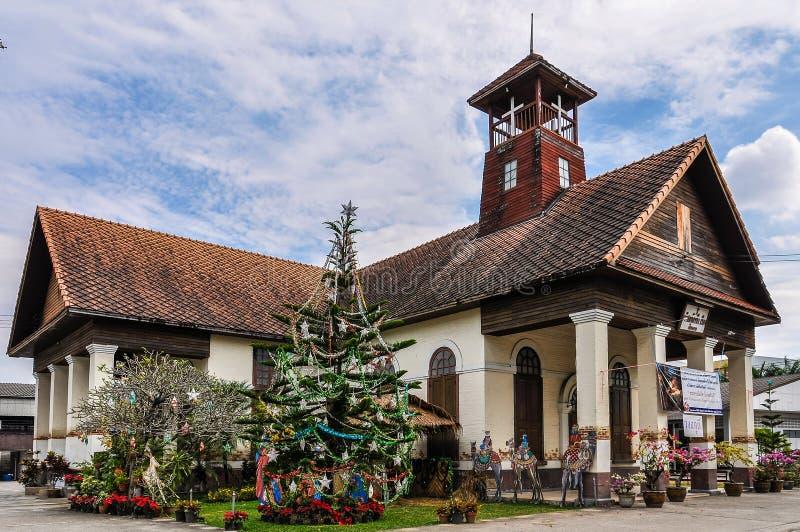 Προτεσταντική Εκκλησία στα Χριστούγεννα σε Chiang Rai, Ταϊλάνδη στοκ εικόνα με δικαίωμα ελεύθερης χρήσης