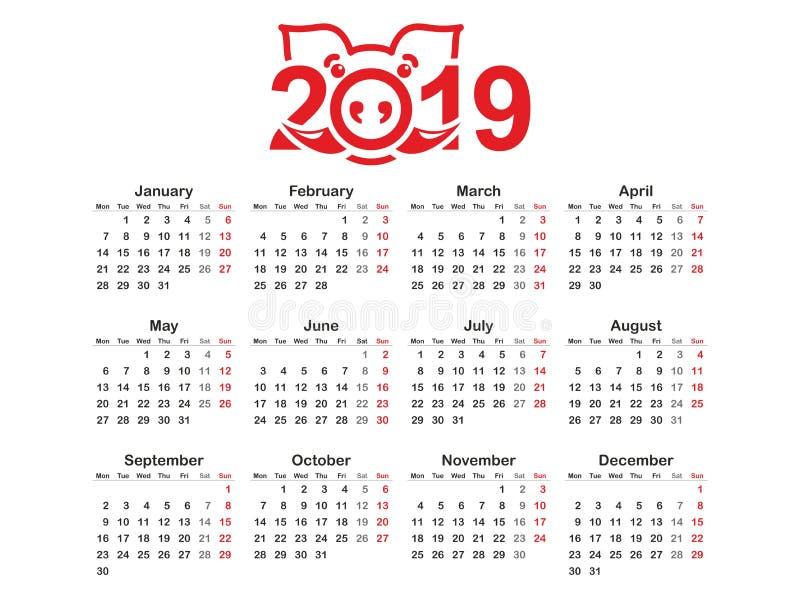 Προτύπων ημερολογιακού οριζόντιο διανυσματικού σχεδίου έτους 2019 απλού και καθαρού σχέδιο, Ημερολόγιο για το έτος 2019 με το τυπ διανυσματική απεικόνιση