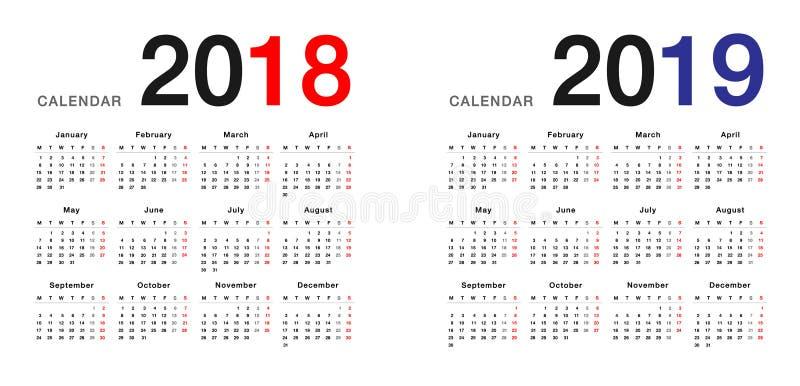 Προτύπων ημερολογιακού σχεδίου έτους 2018 και έτους 2019 απλού και καθαρού σχέδιο, απεικόνιση αποθεμάτων