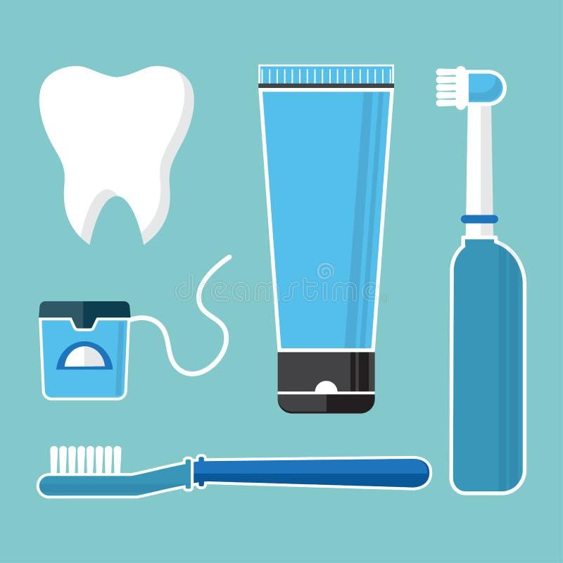 Προφορικές προσοχή και υγιεινή, δόντια βουρτσίσματος Σύνολο οδοντικών καθαρίζοντας εργαλείων Δόντι, οδοντόβουρτσα, ηλεκτρική οδον απεικόνιση αποθεμάτων