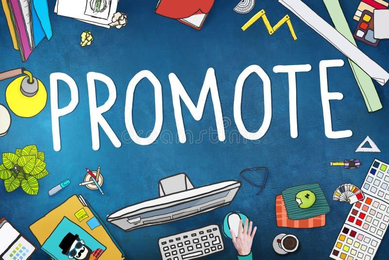 Προωθήστε την εμπορική έννοια προώθησης σχεδίων μάρκετινγκ ελεύθερη απεικόνιση δικαιώματος
