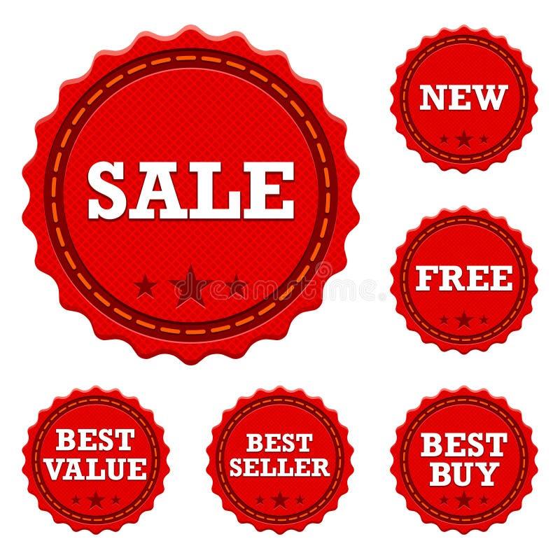 Προωθητικές αυτοκόλλητες ετικέττες πώλησης διανυσματική απεικόνιση