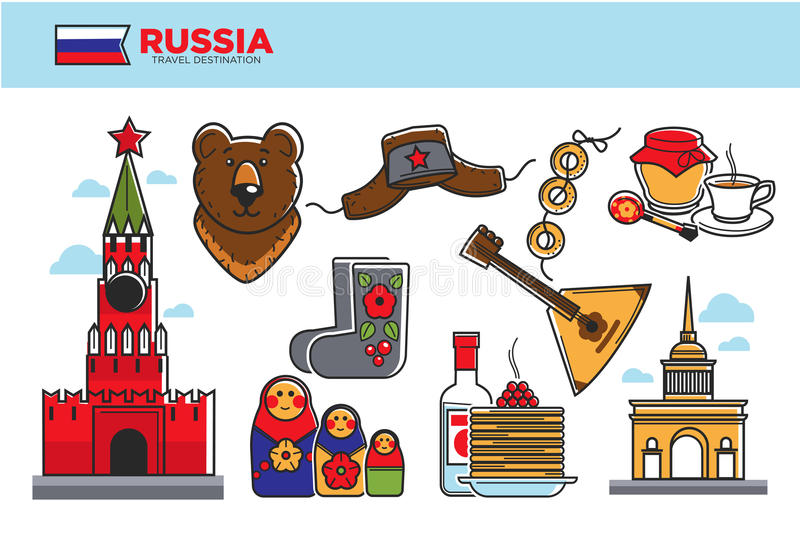 Προωθητική αφίσα προορισμού ταξιδιού της Ρωσίας με τα πολιτιστικά σύμβολα διανυσματική απεικόνιση