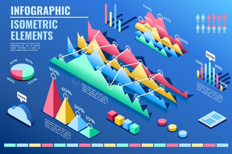 Προωθητική παρουσίαση ανόδου ποσοστού στατιστικής διανυσματική απεικόνιση