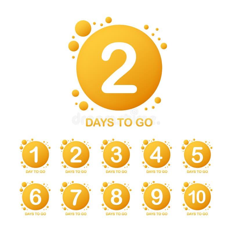 Προωθητικό έμβλημα με τον αριθμό τις ημέρες για να πάει σημάδι επίσης corel σύρετε το διάνυσμα απεικόνισης απεικόνιση αποθεμάτων