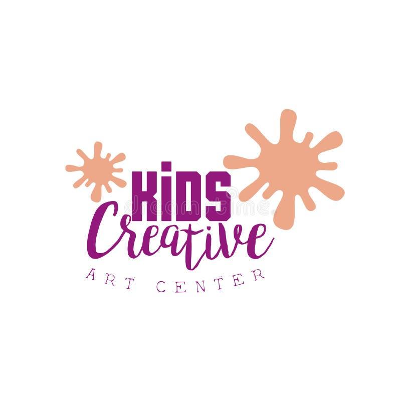 Προωθητικό λογότυπο προτύπων κατηγορίας παιδιών δημιουργικό με τις σταγόνες χρωμάτων, σύμβολα της τέχνης και της δημιουργικότητας απεικόνιση αποθεμάτων
