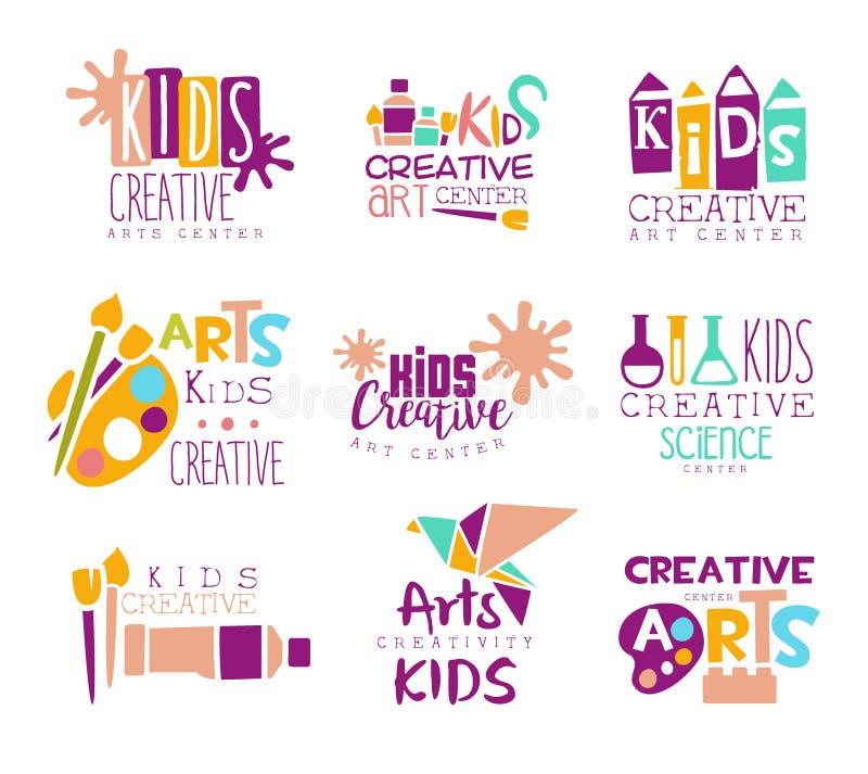 Προωθητικό λογότυπο προτύπων κατηγορίας παιδιών δημιουργικό που τίθεται με τα σύμβολα της τέχνης και της δημιουργικότητας, της ζω απεικόνιση αποθεμάτων