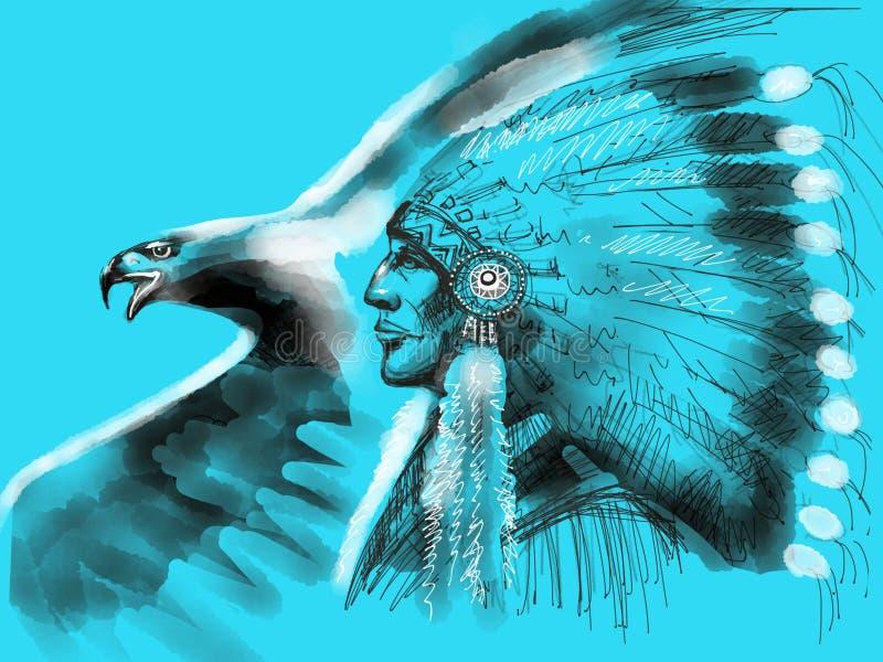 Προϊστάμενος αμερικανών ιθαγενών διανυσματική απεικόνιση