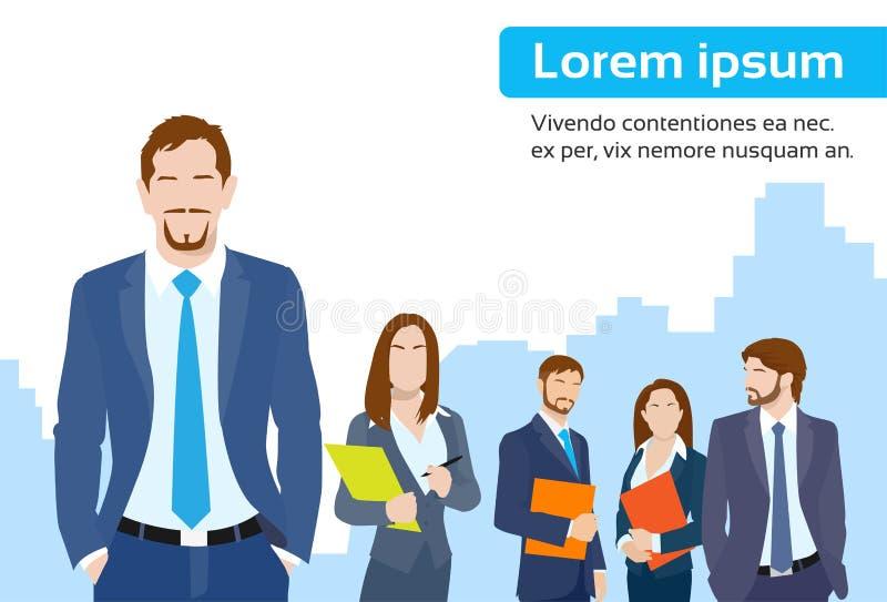 Προϊστάμενος ηγετών επιχειρηματιών με την ομάδα επιχείρησης απεικόνιση αποθεμάτων
