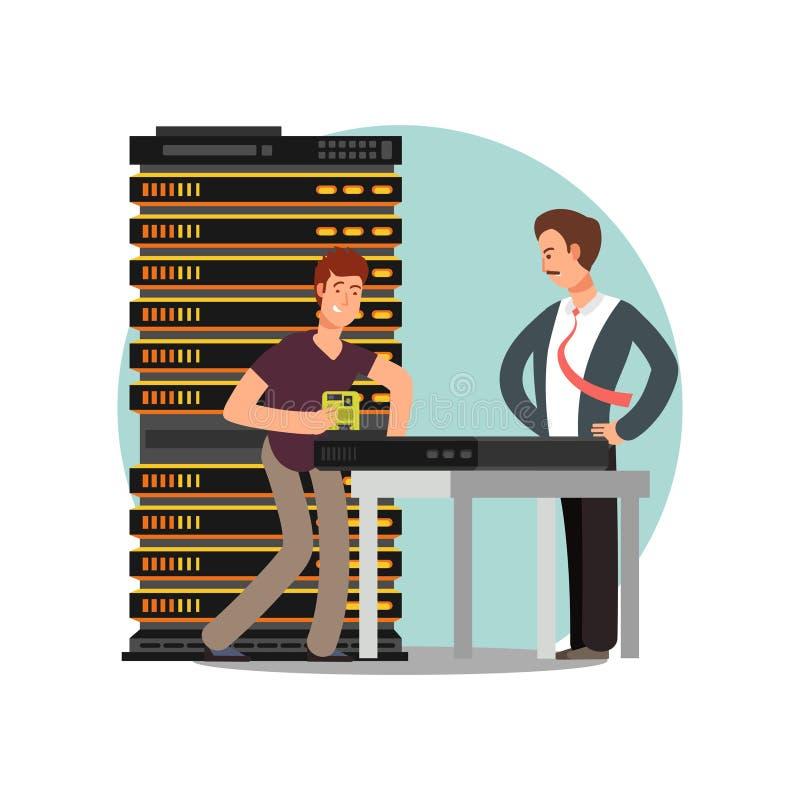Προϊστάμενος και μηχανικός υπολογιστών απεικόνιση αποθεμάτων