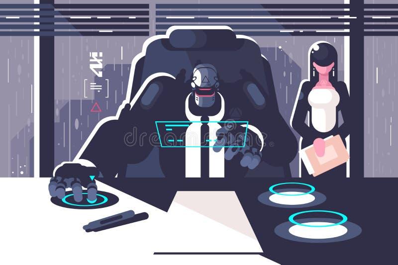 Προϊστάμενος ρομπότ με το γραμματέα γυναικών στο δωμάτιο γραφείων απεικόνιση αποθεμάτων