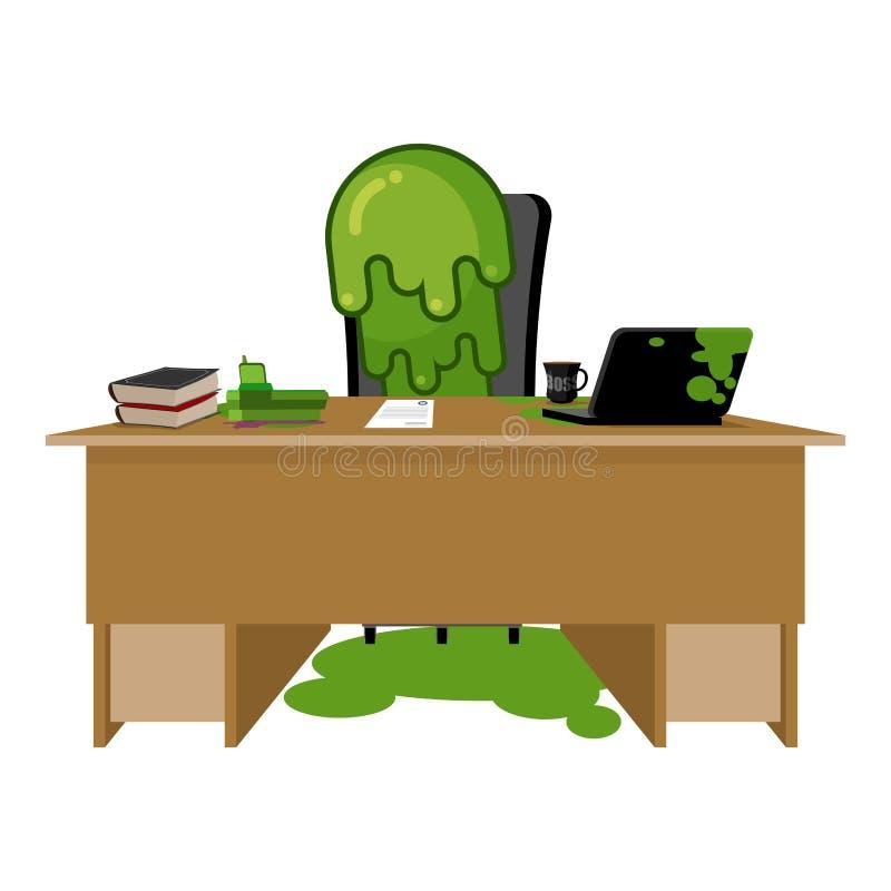Προϊστάμενος Booger snot συνεδρίαση διευθυντή στον πίνακα Δυσάρεστο πράσινο slime ι απεικόνιση αποθεμάτων