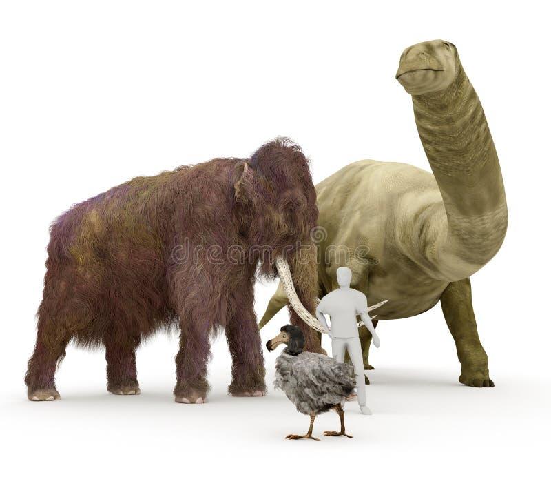 Προϊστορικά εκλείψας ζώα στην ανθρώπινη σύγκριση μεγέθους ελεύθερη απεικόνιση δικαιώματος